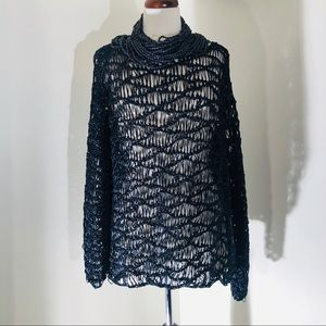 Chico Navy See thru designed sweater top; size 3;